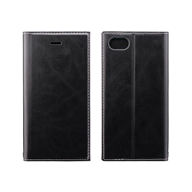 iPhone SE (第2世代)/8/7 薄型PUレザーフラップケース「PRIME」 ブラック
