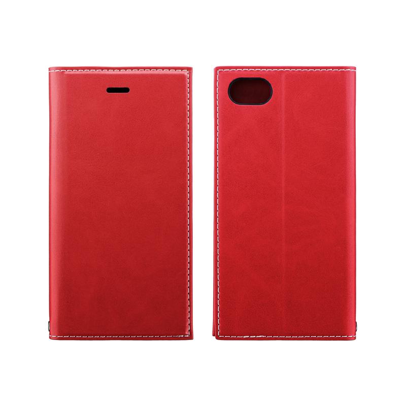 iPhone SE (第2世代)/8/7 薄型PUレザーフラップケース「PRIME」 レッド