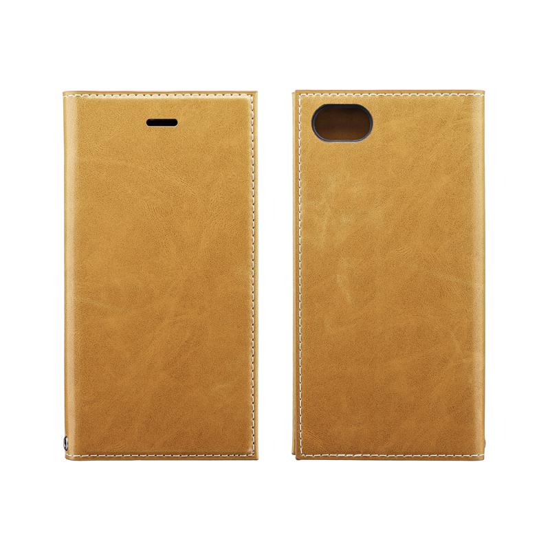 iPhone SE (第2世代)/8/7 薄型PUレザーフラップケース「PRIME」 キャメル