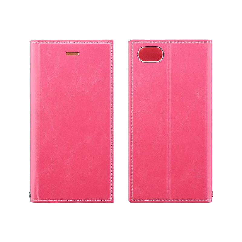 iPhone SE (第2世代)/8/7 薄型PUレザーフラップケース「PRIME」 ピンク