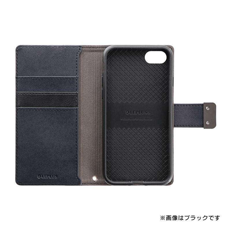 iPhone SE (第2世代)/8/7 上質PUレザーブックケース「PREMIER」 ブラック