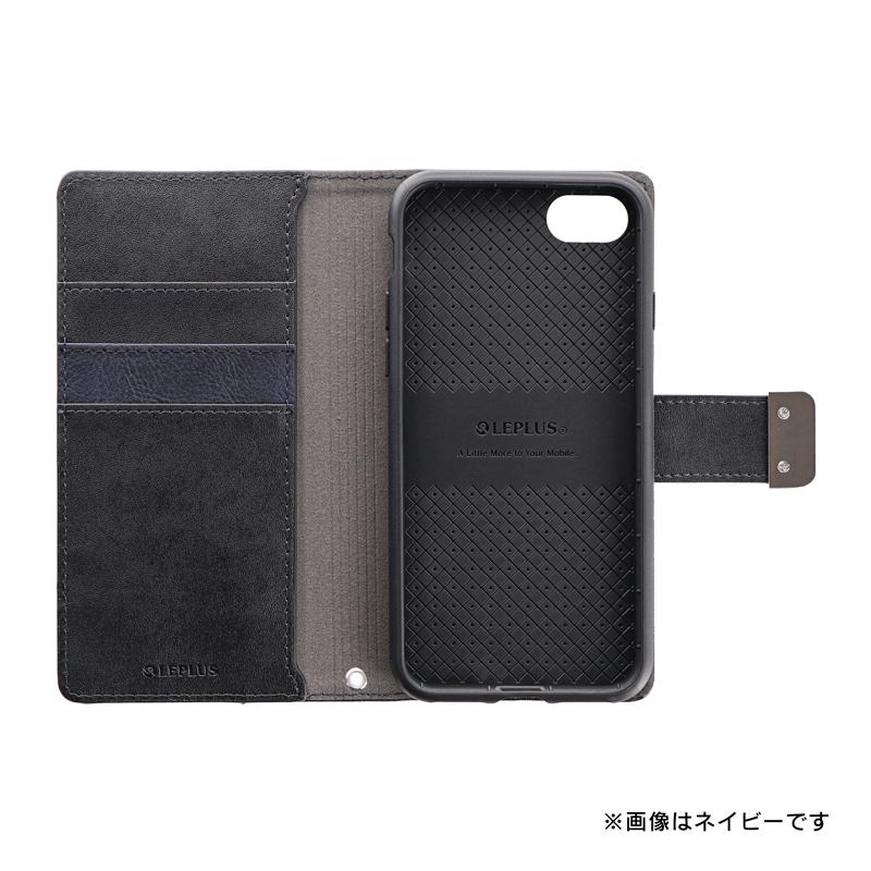 iPhone SE (第2世代)/8/7 上質PUレザーブックケース「PREMIER」 ネイビー