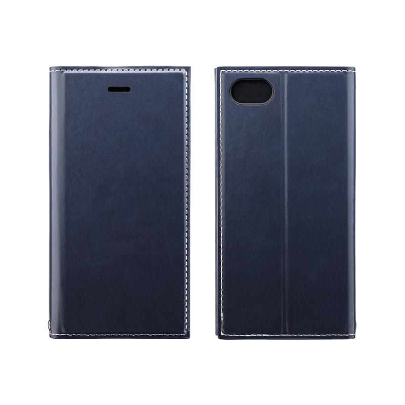 iPhone SE (第2世代)/8/7 薄型PUレザーフラップケース「PRIME」 ネイビー
