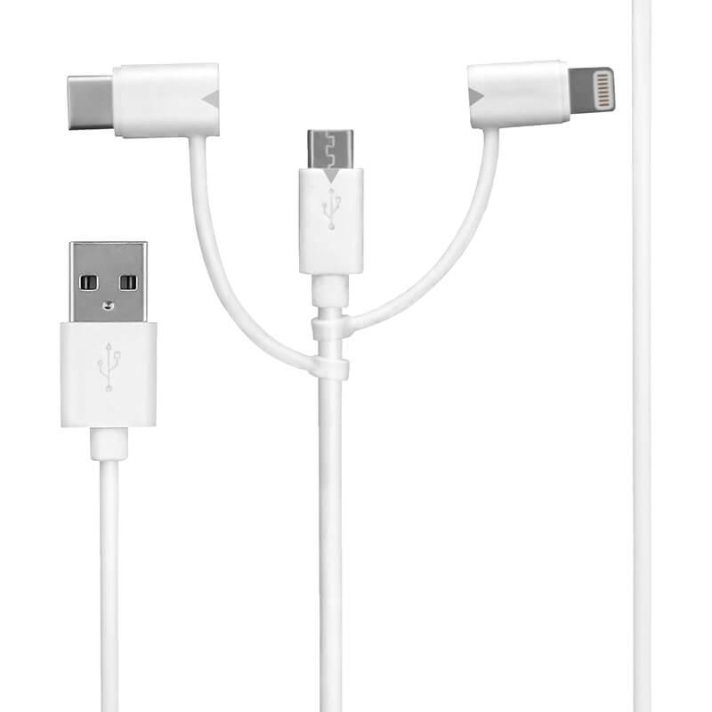 スマートフォン(汎用) 3in1ケーブル Type-C + microUSB + Lightning 15cm ホワイト