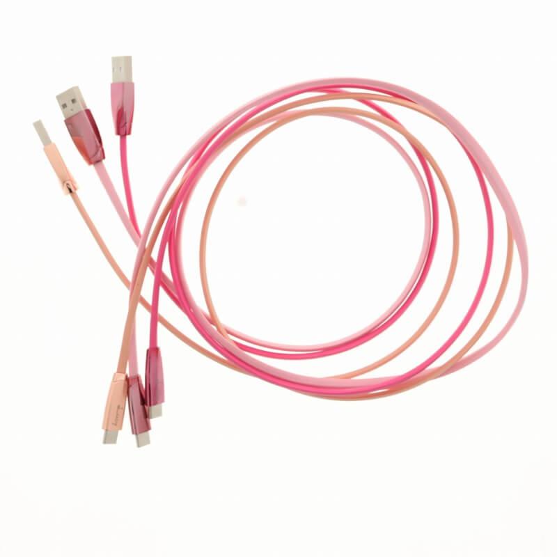 スマートフォン汎用 【Lucy】USB A to Type-C(USB2.0) ケーブル/1m/ピーチピンク