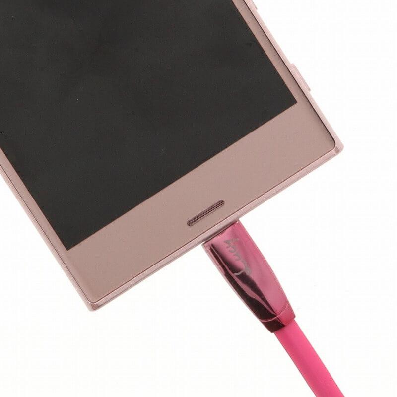 スマートフォン汎用 【Lucy】USB A to Type-C(USB2.0) ケーブル/1m/チェリーピンク