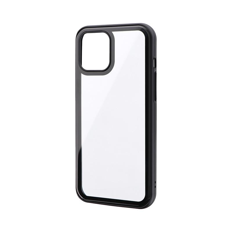 iPhone 12 Pro Max ラウンドエッジガラスシェルケース「SHELL GLASS Round」 ブラック