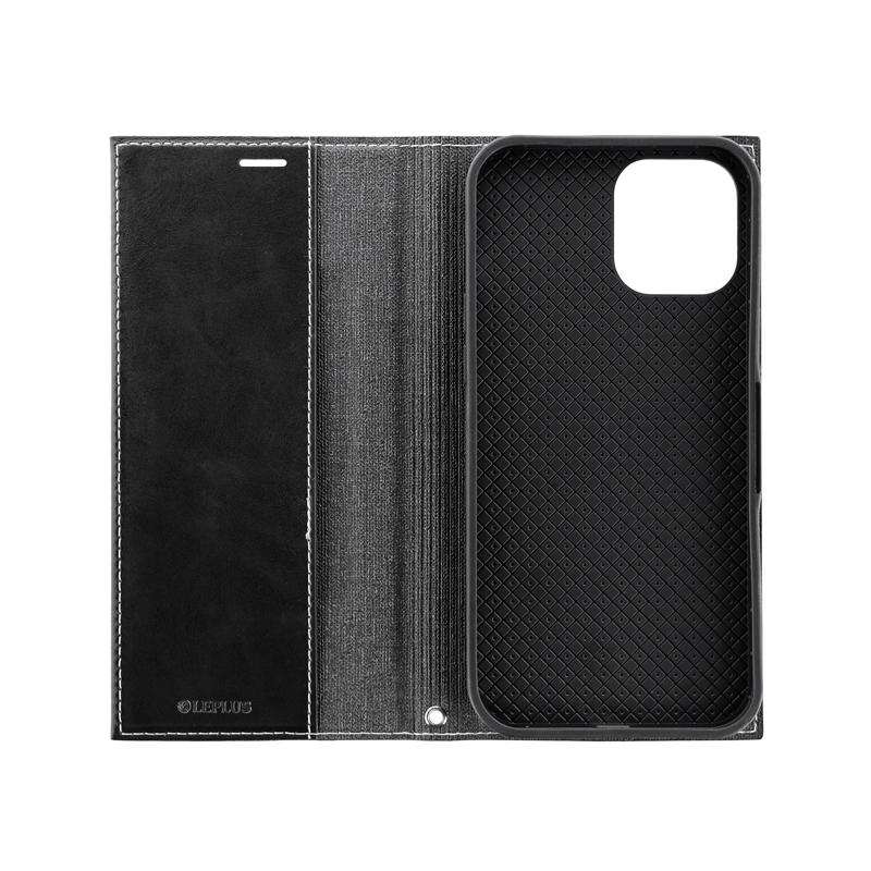 iPhone 12 Pro Max 薄型PUレザーフラップケース「PRIME」 ブラック