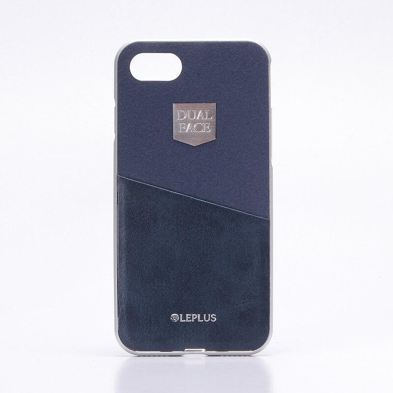 iPhone7 アルミバンパー+PUレザーシェルケース「DUAL FACE  Shell」 ネイビー