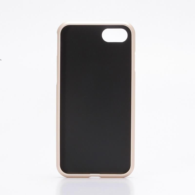 iPhone7 アルミバンパー+PUレザーシェルケース「DUAL FACE  Shell」 ブラウン