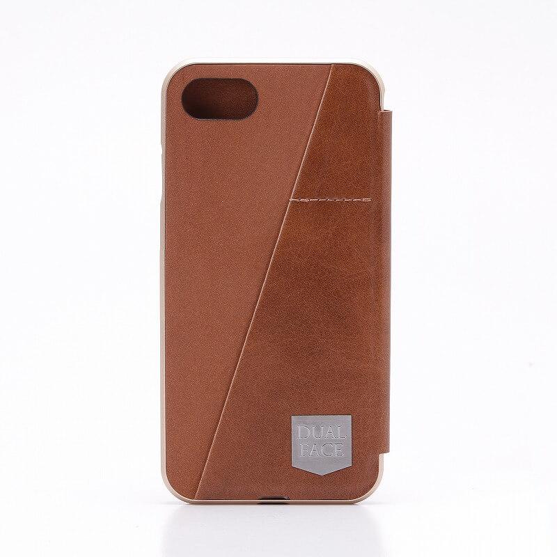 iPhone7 アルミバンパー+PUレザーフラップケース「DUAL FACE Flap」ブラウン