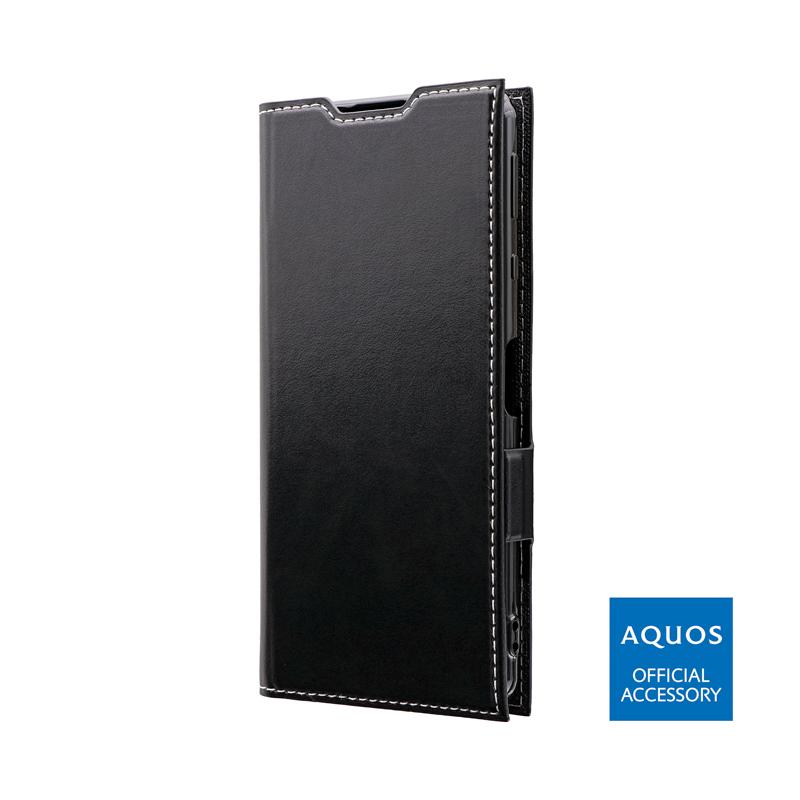 AQUOS sense4 SH-41A / AQUOS sense4 lite SH-RM15 / AQUOS sense4 basic A003SH / AQUOS sense5G SH-53A/SHG03 薄型PUレザーフラップケース「PRIME」 ブラック