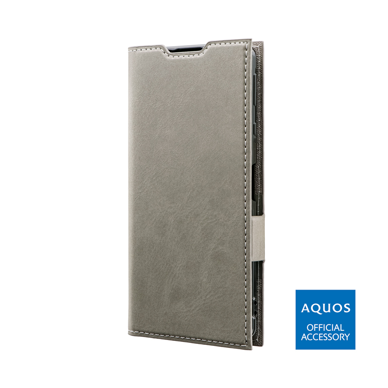 AQUOS sense4 SH-41A / AQUOS sense4 lite SH-RM15 / AQUOS sense4 basic A003SH / AQUOS sense5G SH-53A/SHG03 薄型PUレザーフラップケース「PRIME」 グレー