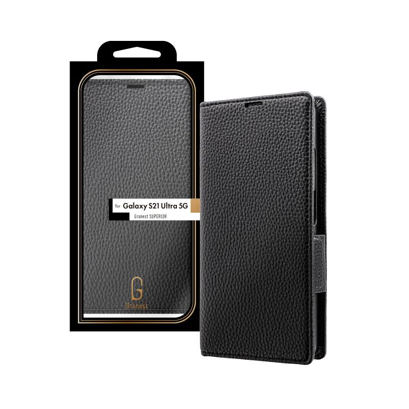 Galaxy S21 Ultra 5G SC-52B 本革風レザーフラップケース「SUPERIOR」 ブラック