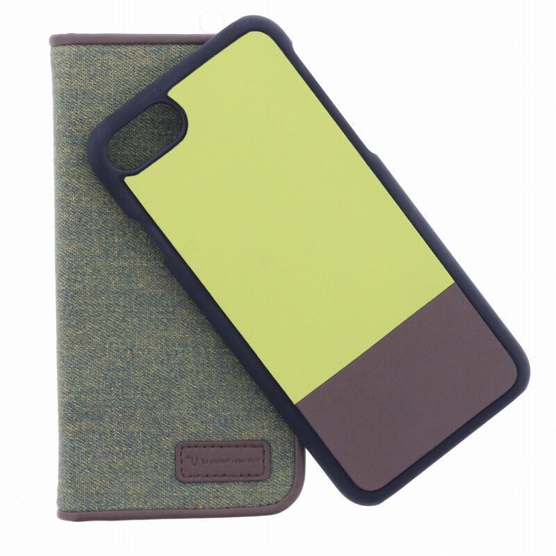 iPhone 7 【+U】Amari/マグネット式2WAYケース/モスグリーン