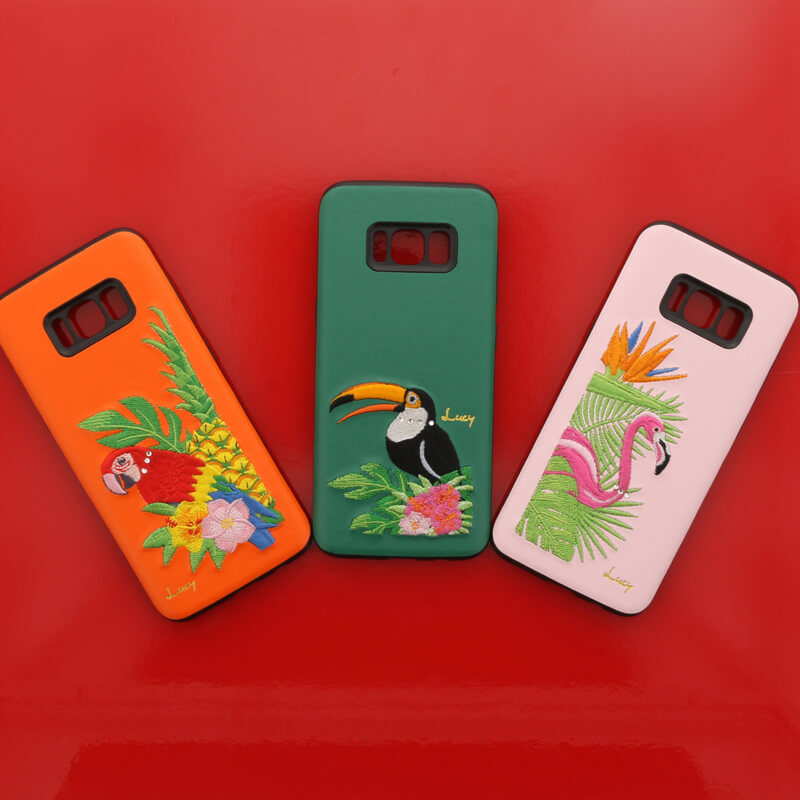 Galaxy S8 SC-02J/SCV36 【Lucy】クリスタル/刺繍ハイブリットケース フラミンゴ