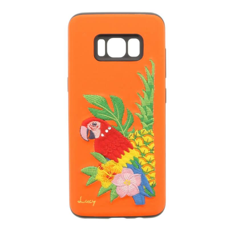 Galaxy S8 SC-02J/SCV36 【Lucy】クリスタル/刺繍ハイブリットケース インコ