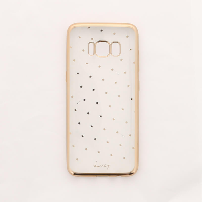 Galaxy S8 SC-02J/SCV36 【Lucy】クリスタル/クリアメタルソフトケース スター柄