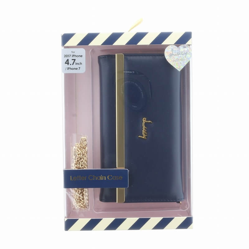 iPhone 8/7【Lucy】チェーン付レター型ケース/ネイビー