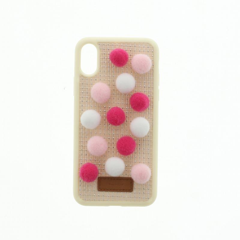 iPhone X【Lucy】ポンポンハイブリットケース/いちごみるく