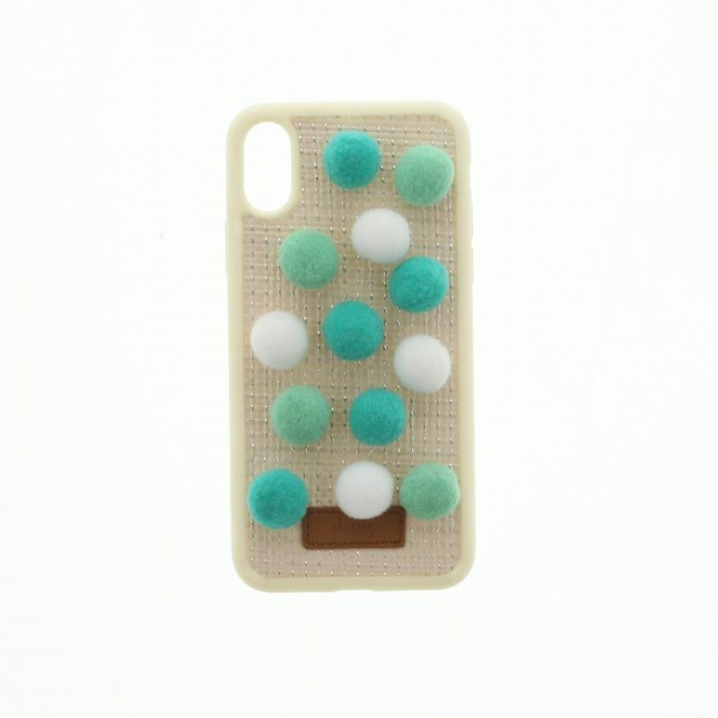 □iPhone XS/iPhone X 【Lucy】ポンポンハイブリットケース/めろんみるく