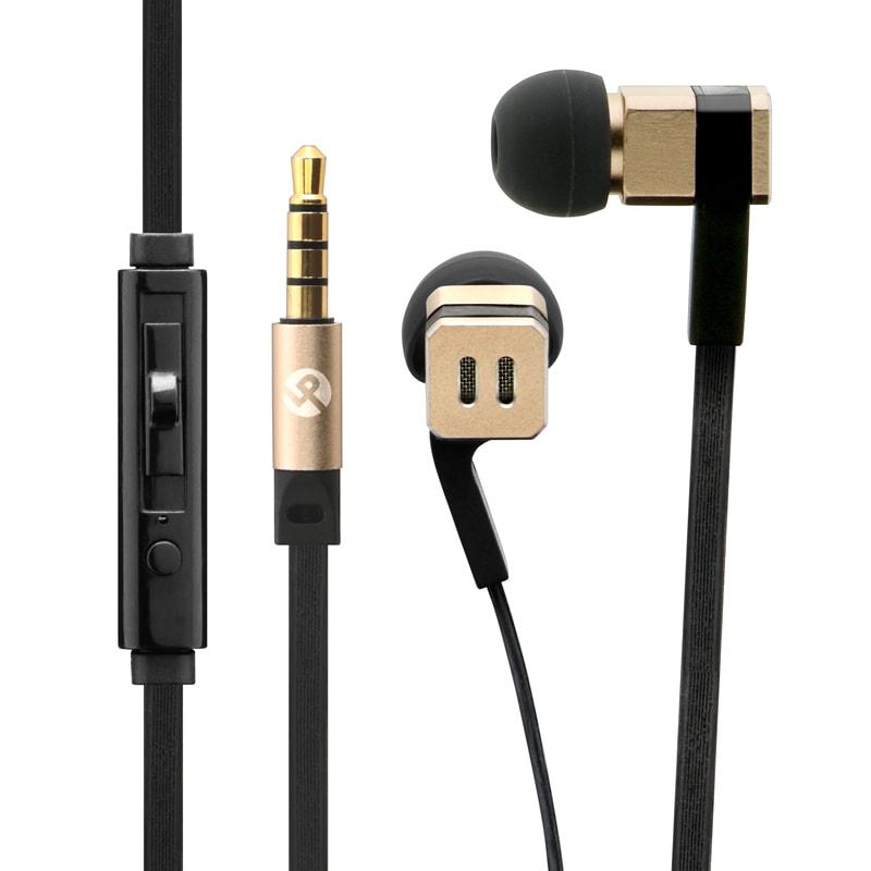 iPhone/スマートフォン イヤフォン(ボリューム/マイク付) 「極の音域 SQUARE(スクエア)」 ゴールド