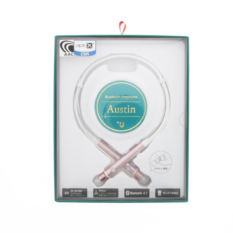 スマートフォン(汎用) 【+U】Austin/aptX・AAC対応/Bluetoothイヤホン/ローズゴールド