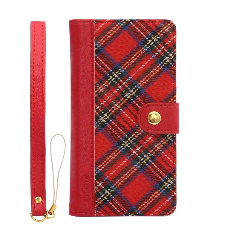 iPhone 6/6s ファブリックデザインケース「BOOK Fabric」 チェック(A)