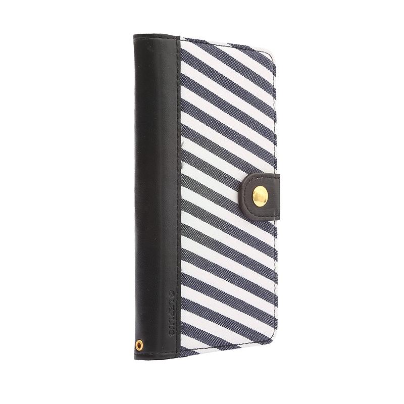 iPhone 6/6s ファブリックデザインケース「BOOK Fabric」 ストライプ(A)