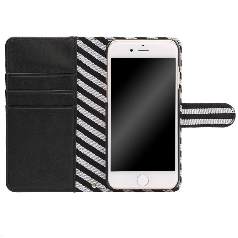 iPhone 6/6s ファブリックデザインケース「BOOK Fabric」 ストライプ(B)