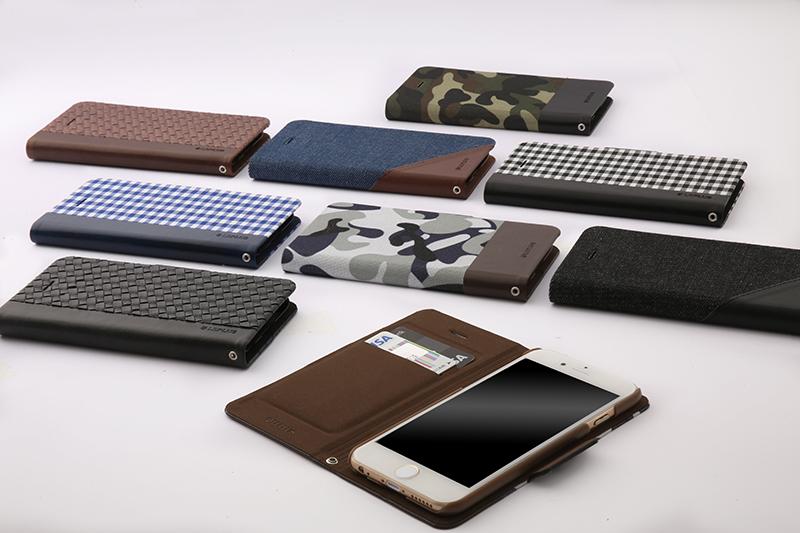 iPhone 6/6s 薄型ファブリックデザインケース「PRIME Fabric」 スリットデニム(A)