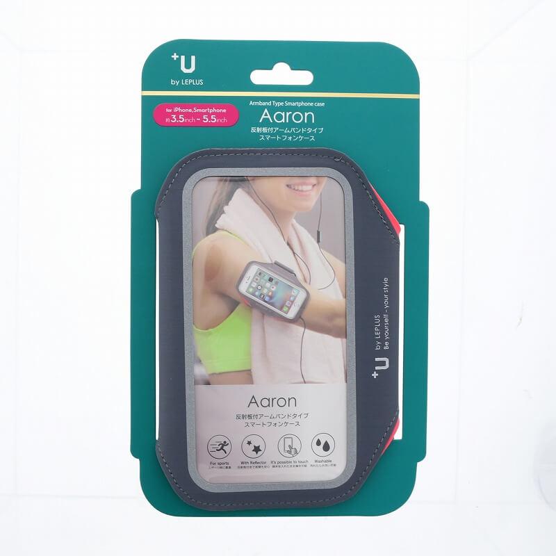 スマートフォン汎用 【+U】Aaron/Armband-Type/スマートフォンケース/ネオンコーラル