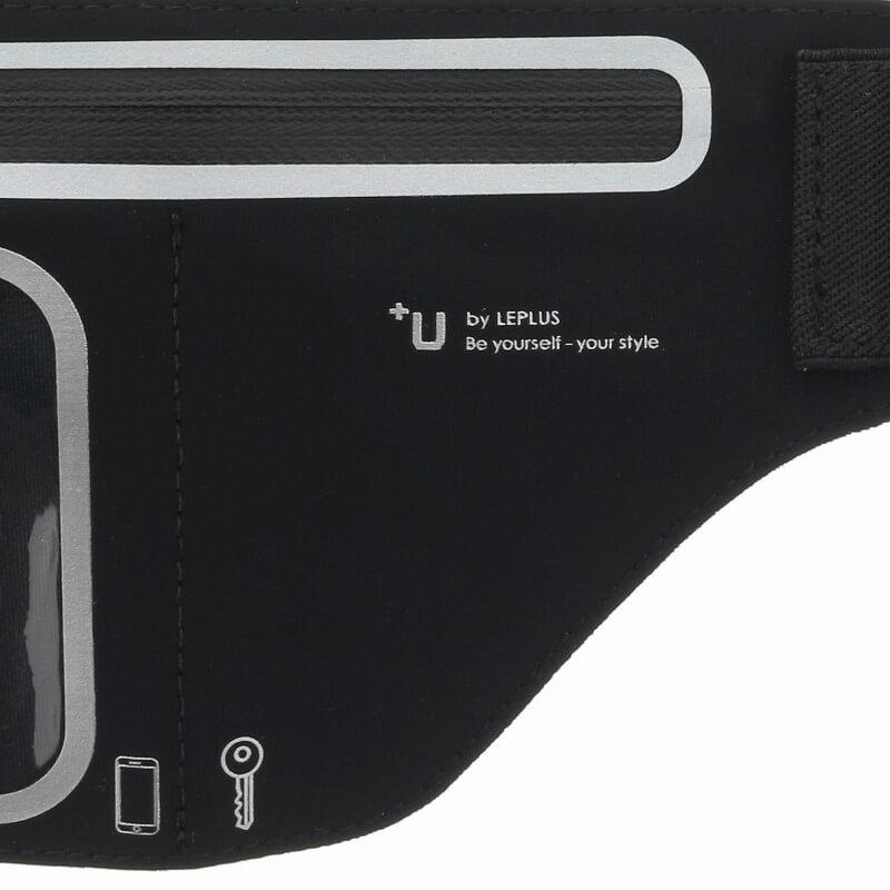 スマートフォン汎用 【+U】Aaron/Waist Pouch-Type/スマートフォンケース/ジェットブラック