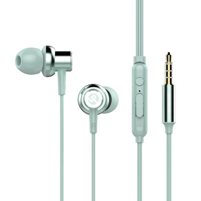 iPhone/スマートフォン イヤフォン(ボリューム/マイク付)「極の音域 METAL(メタル)」ブルー