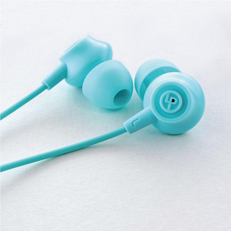 iPhone/スマートフォン イヤフォン(ボリューム/マイク付)「極の音域 PLAIN(プレーン)」ブルー