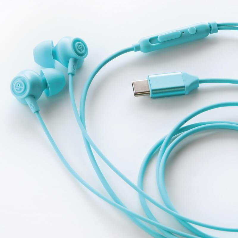 スマートフォン(汎用) イヤフォン(ボリューム/マイク付)「極の音域 Type-C PLAIN(プレーン)」 ホワイト