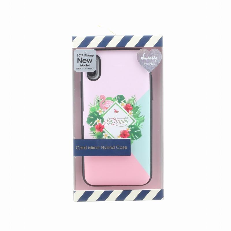iPhone X【Lucy】ミラー付カード収納ハイブリットケース/C