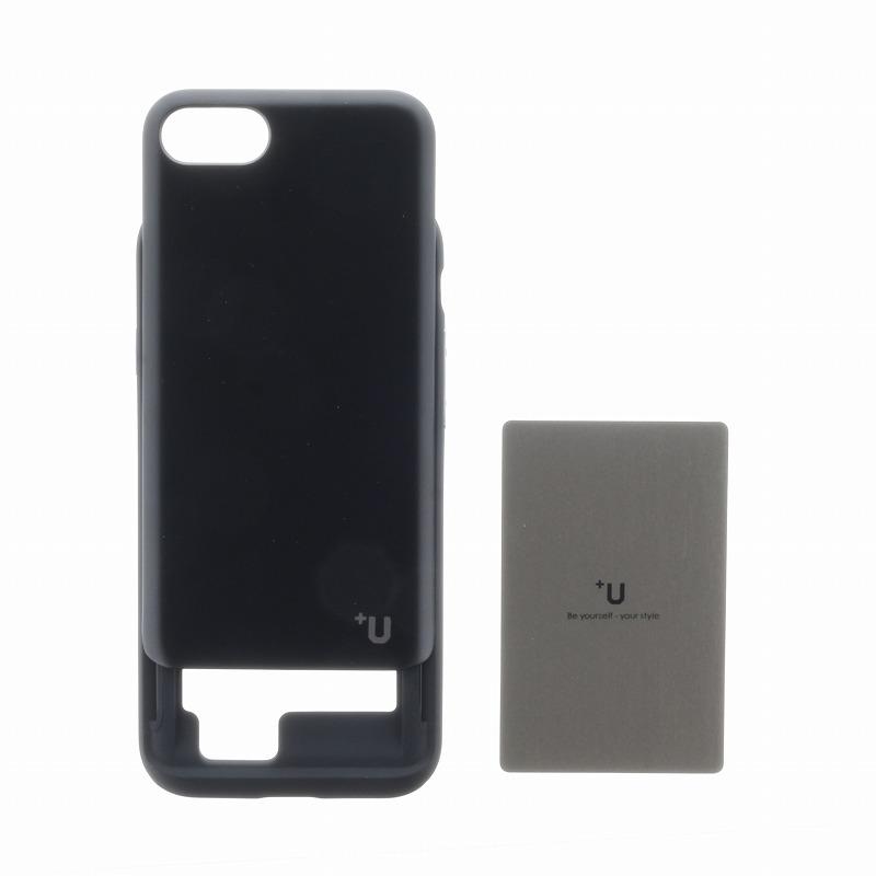 iPhone 8/7【+U】Kyle/Slide式カード収納ハイブリットケース/ブラック