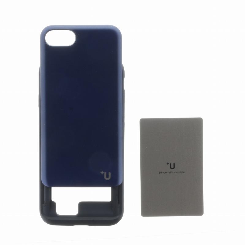 iPhone 8/7【+U】Kyle/Slide式カード収納ハイブリットケース/ディープブルー