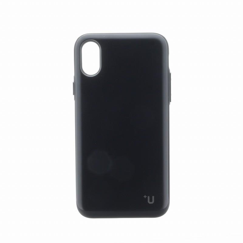 □iPhone XS/iPhone X 【+U】Kyle/Slide式カード収納ハイブリットケース/ブラック