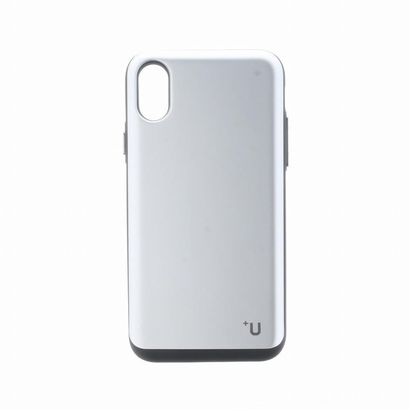 □iPhone XS/iPhone X 【+U】Kyle/Slide式カード収納ハイブリットケース/シルバー
