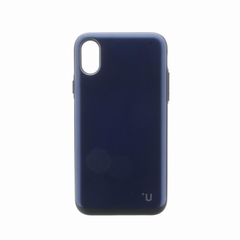 □iPhone XS/iPhone X 【+U】Kyle/Slide式カード収納ハイブリットケース/ディープブルー
