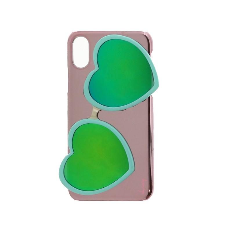 □iPhone XS/iPhone X 【Lucy】ハートミラーサングラス付ハードケース/ターコイズ