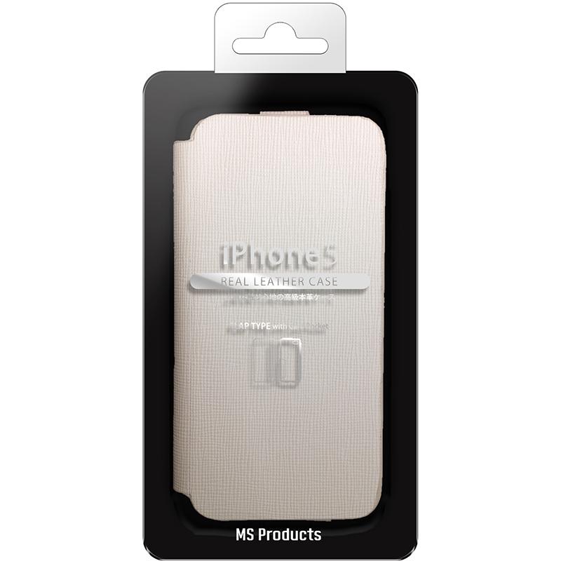 iPhone SE/5S/5 本革ケース(フタ) ホワイト