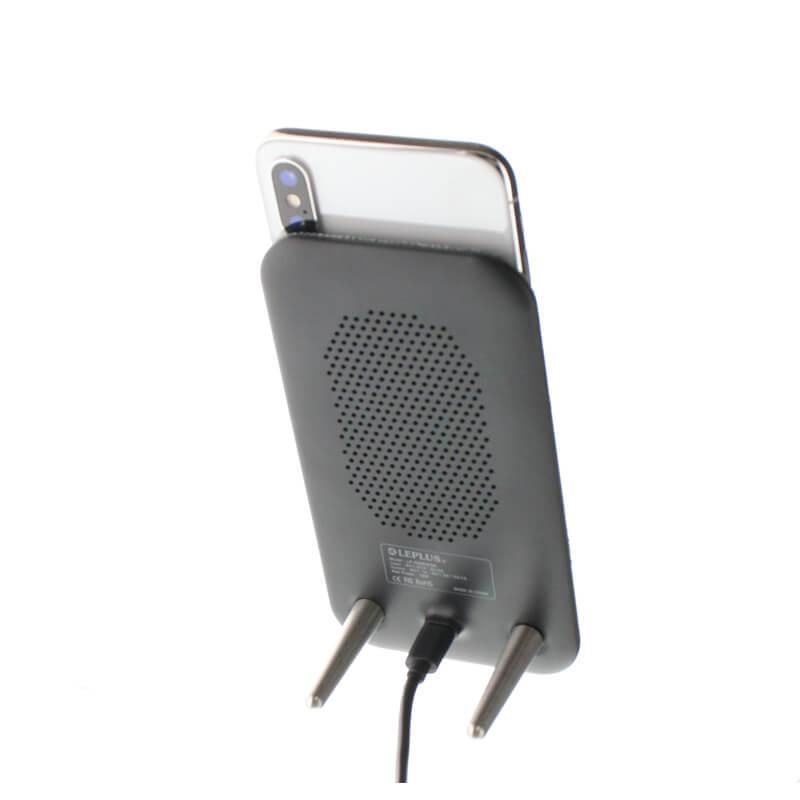 スマートフォン汎用/Qi(チー)ワイヤレス充電器/スタンド/ファブリック/グレー