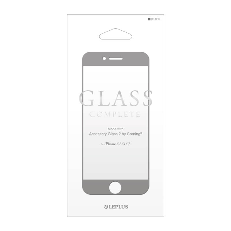 iPhone7/6s/6 ガラスフィルム 「GLASS Complete」 Made with Accessory Glass 2 by Corning(R) ブラック 0.4mm