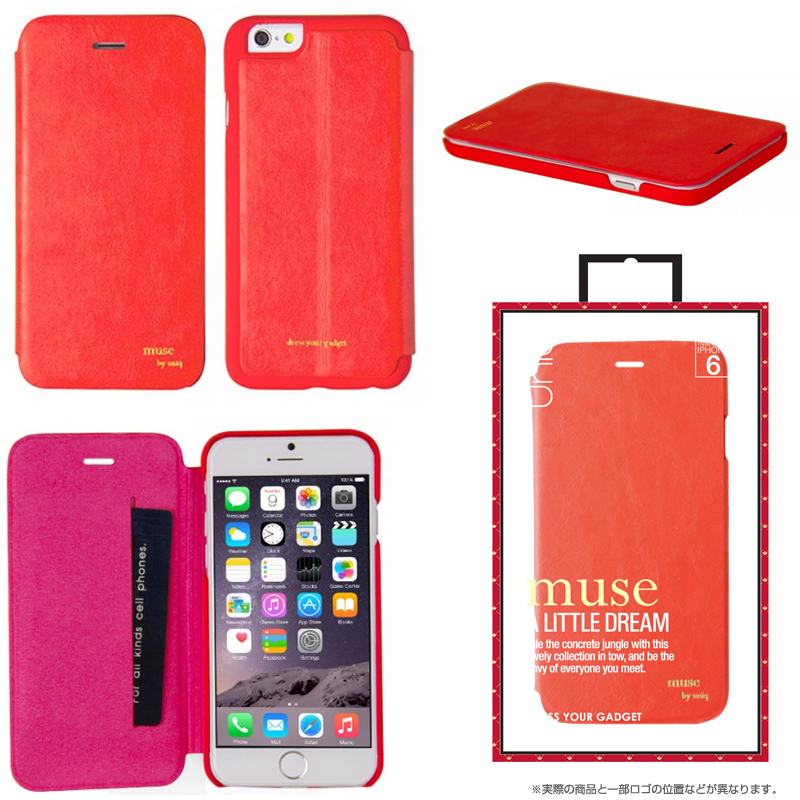【Uniq】iPhone6/Muse/ Coral Thrill (表面:PUレザー 合皮)(裏面:ポリカーボネート)