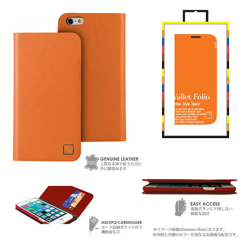 【Uniq】iPhone6_6S/Optimist/ Tangerine Weekend(表面: Geniune Leather 本革)(裏面:ポリカーボネート)
