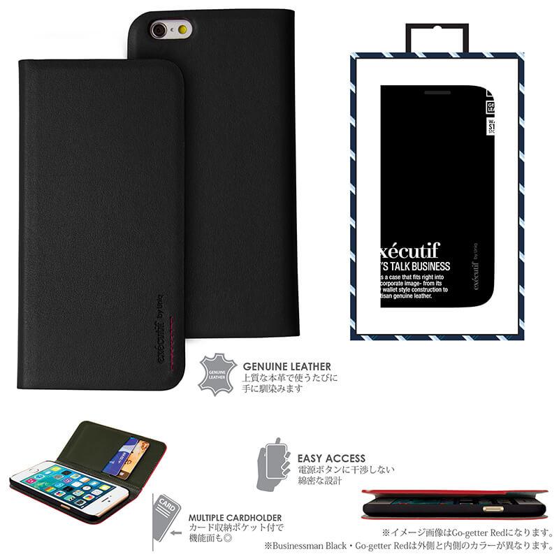 【Uniq】iPhone6_6S/Executif/ Businessman Black(表面: Geniune Leather 本革)(裏面:ポリカーボネート)