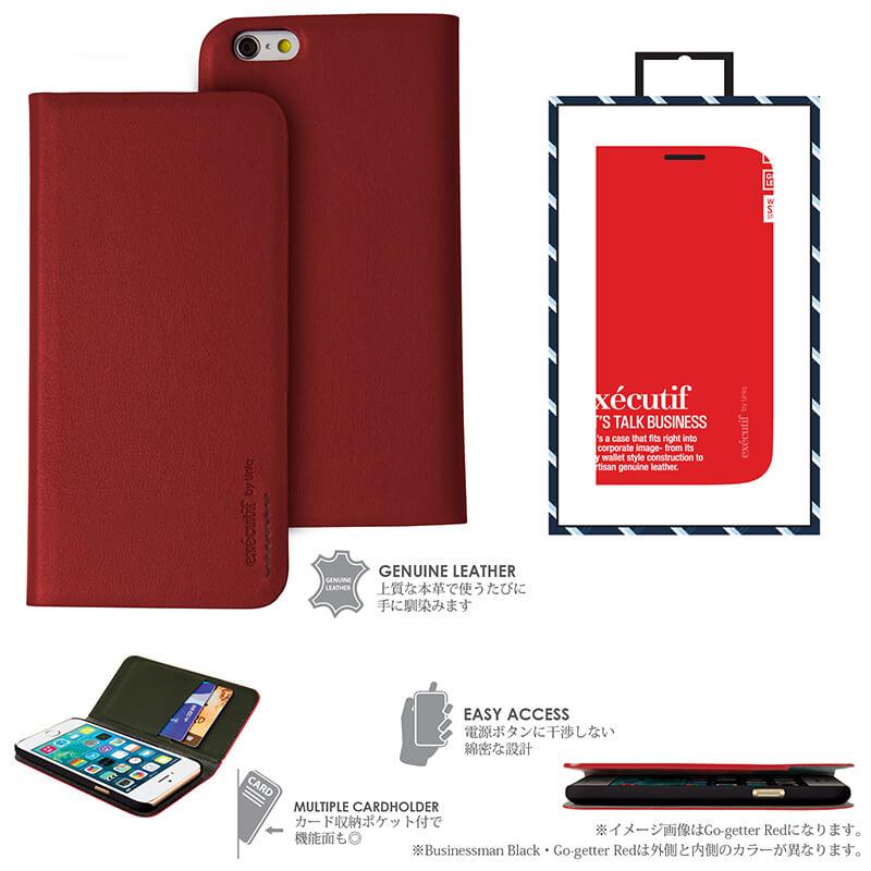 【Uniq】iPhone6_6S/Executif/ Go-getter Red(表面: Geniune Leather 本革)(裏面:ポリカーボネート)